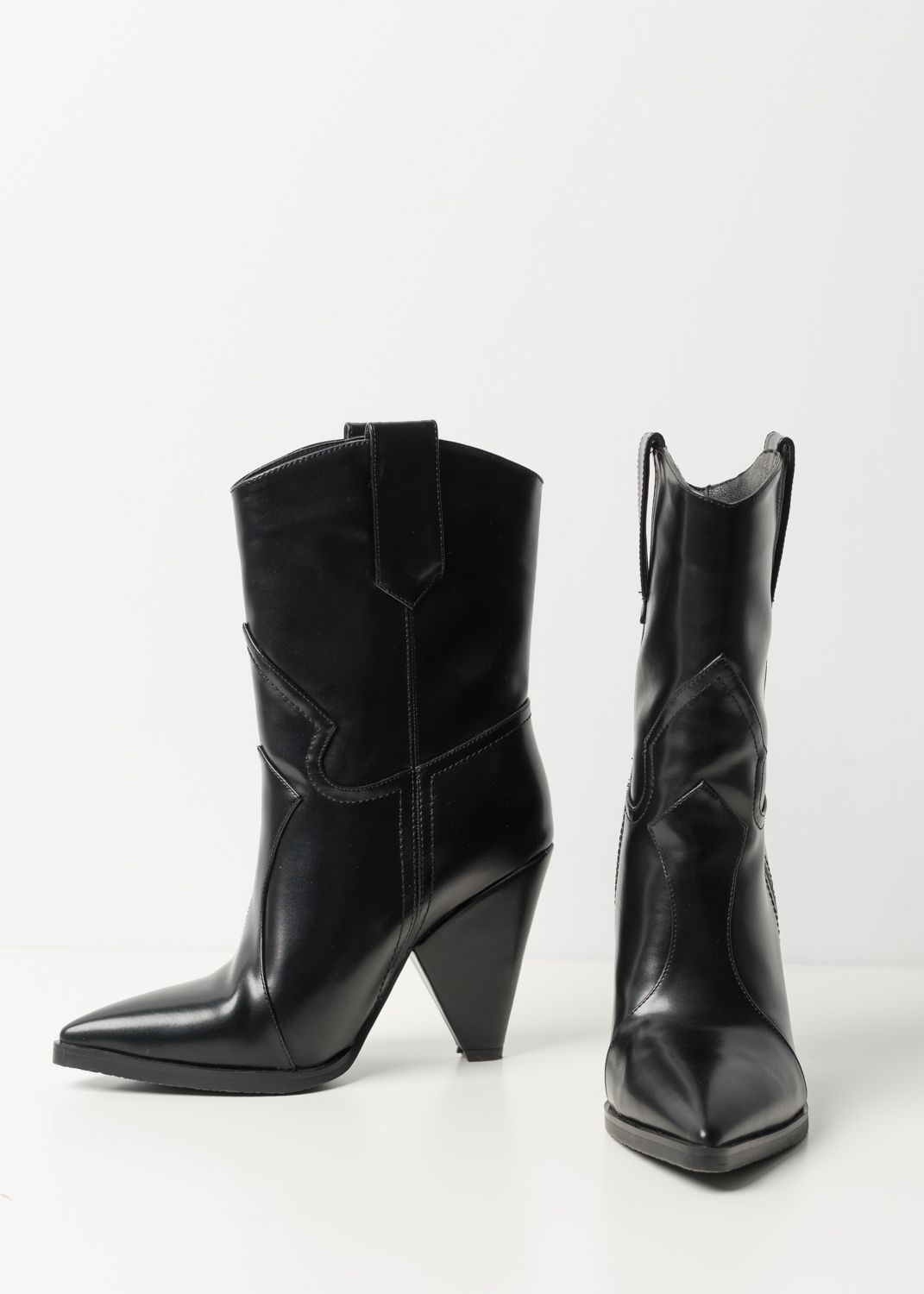 COWBOY HEEL ANKLE BOOTS WITH POINTED TOE