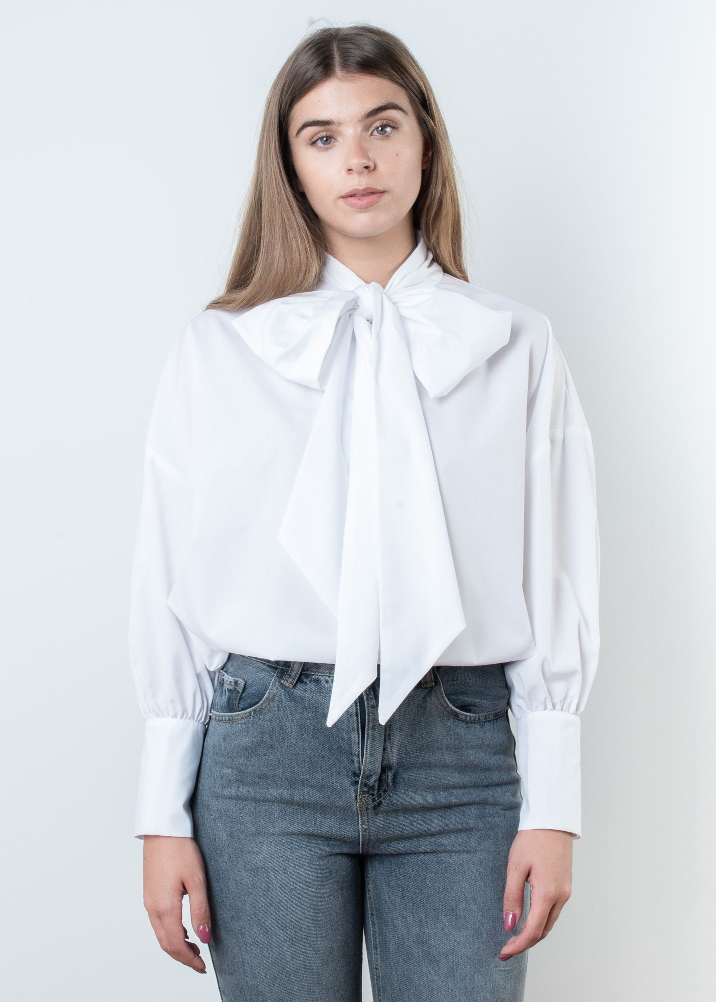 POPLIN SHIRT WITH BOW DETAIL