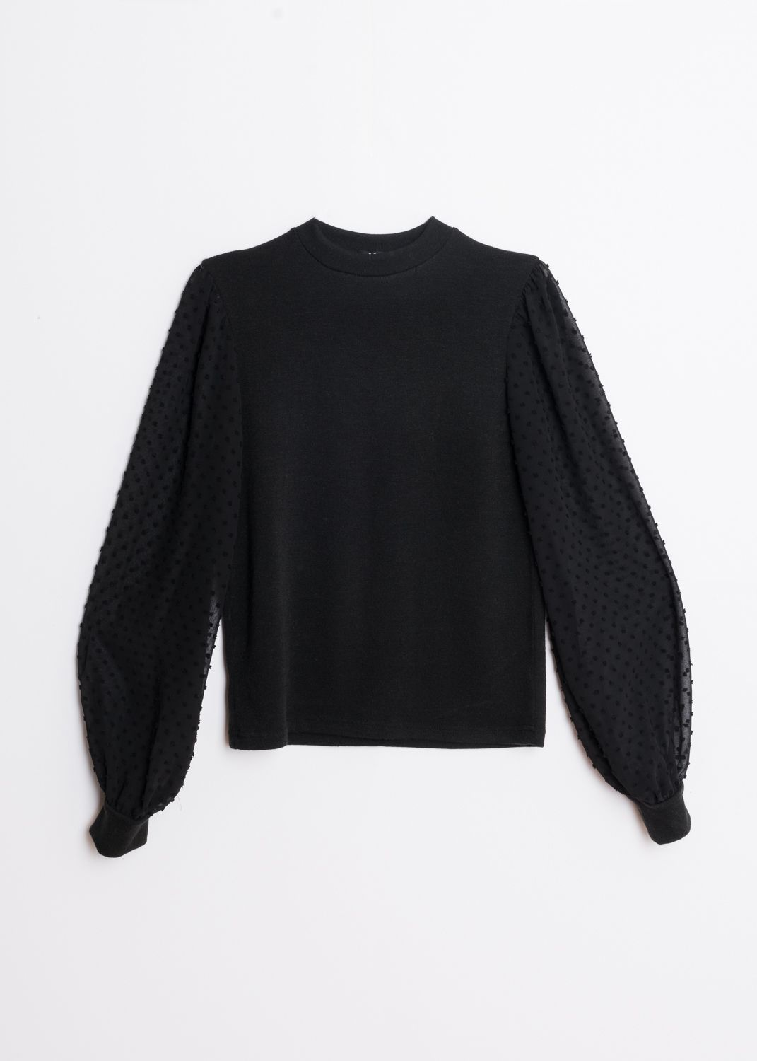KNIT SWEATER WITH CONTRAST TULLE SLEEVES