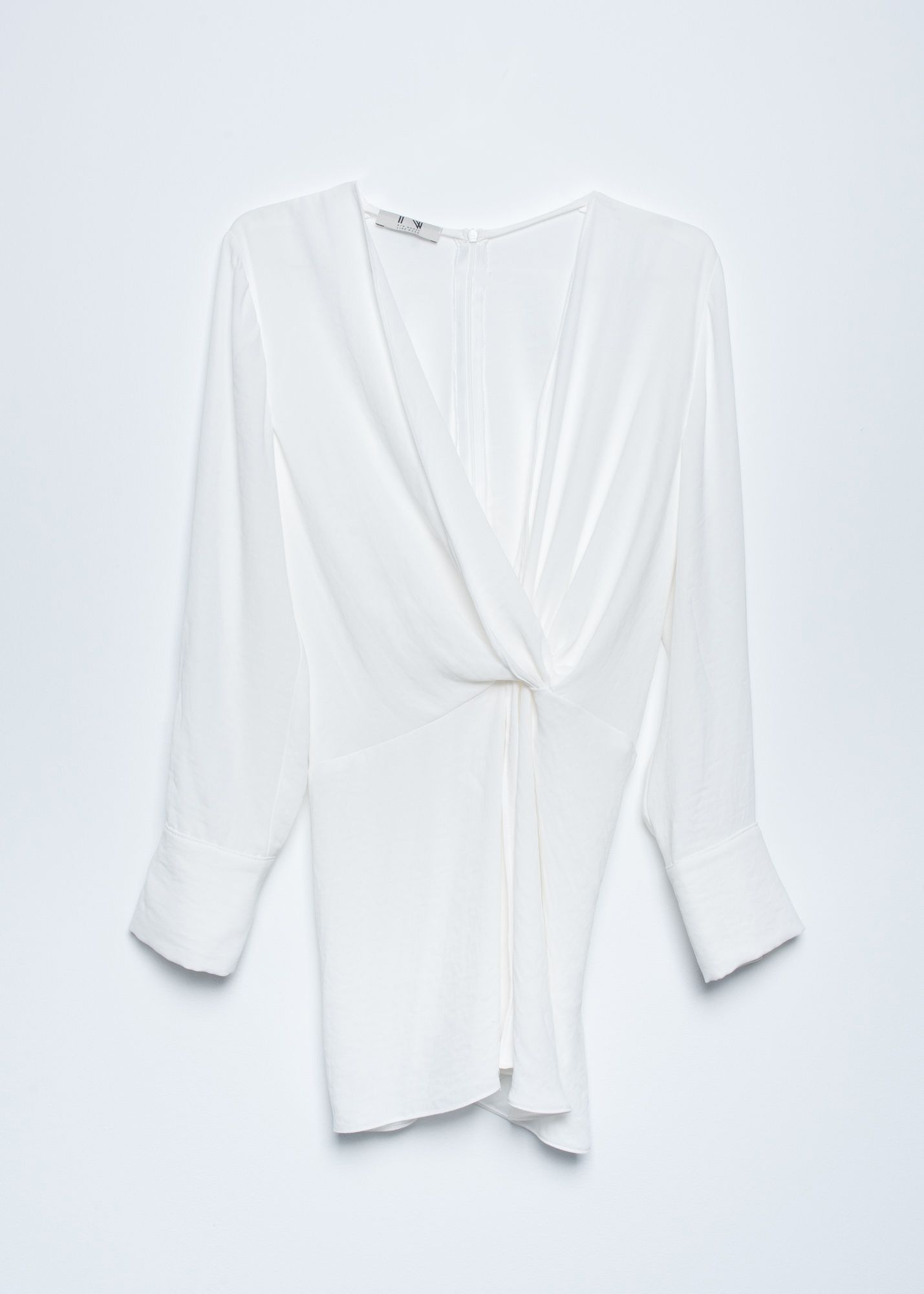 TEXTURED BLOUSE WITH KNOT DETAIL