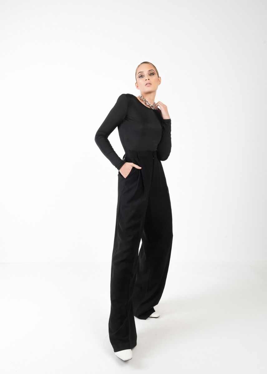 LONG SLEEVE BODYSUIT WITH SHOULDER PADS