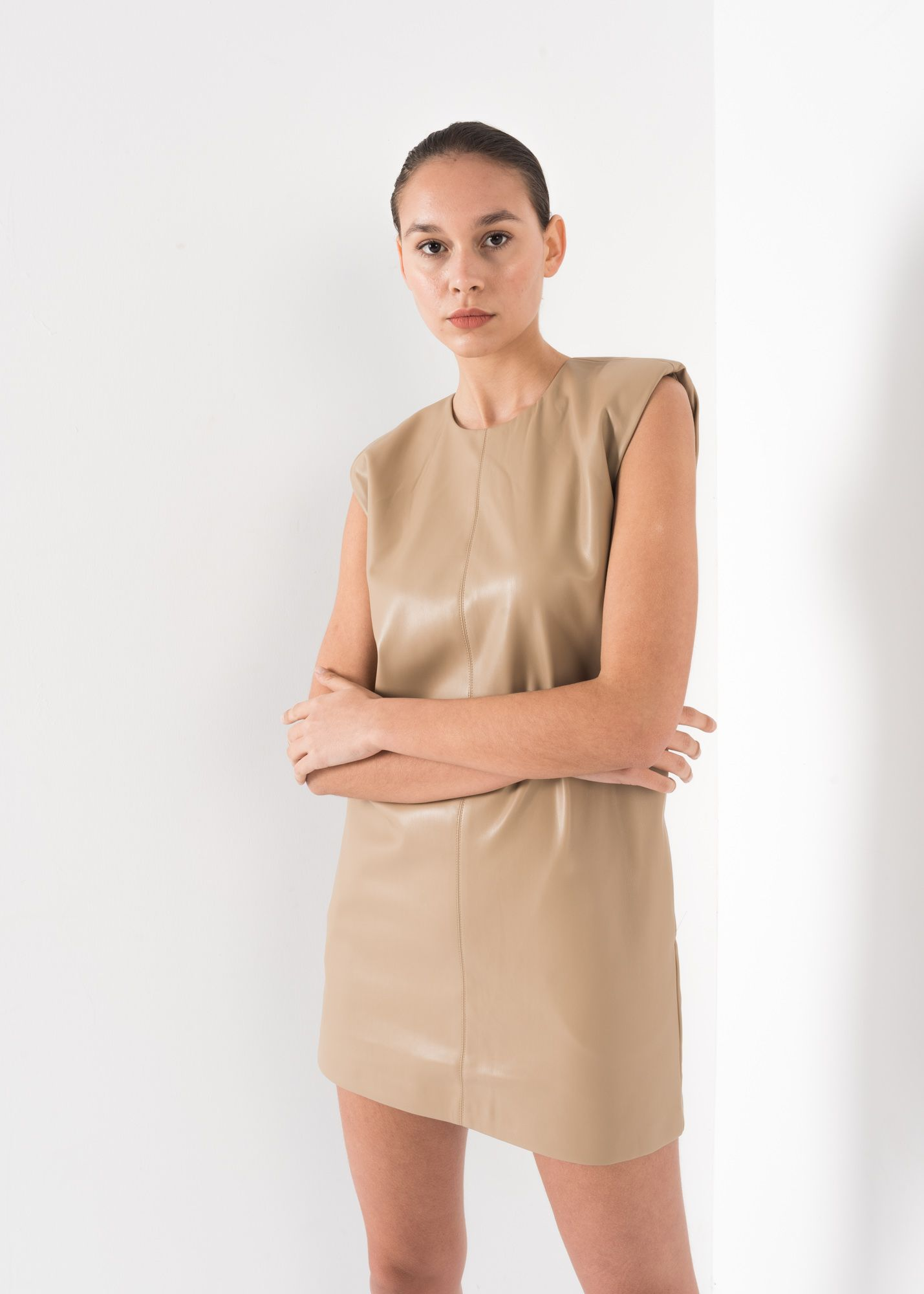 FAUX LEATHER BELTED DRESS WITH SHOULDER PADS