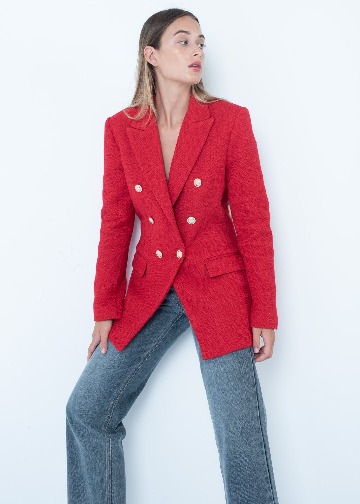 TEXTURED DOUBLE-BREASTED BLAZER